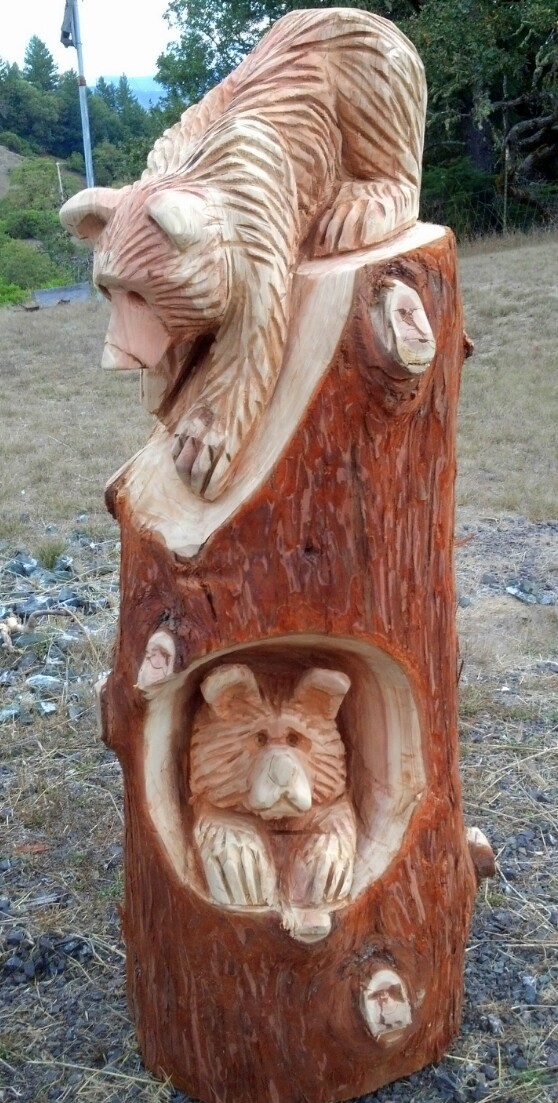 Chainsaw carving of brown bear trä pinterest